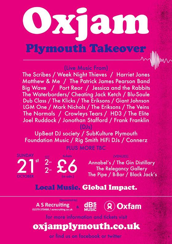 oxjam plymouth barbican music lineup