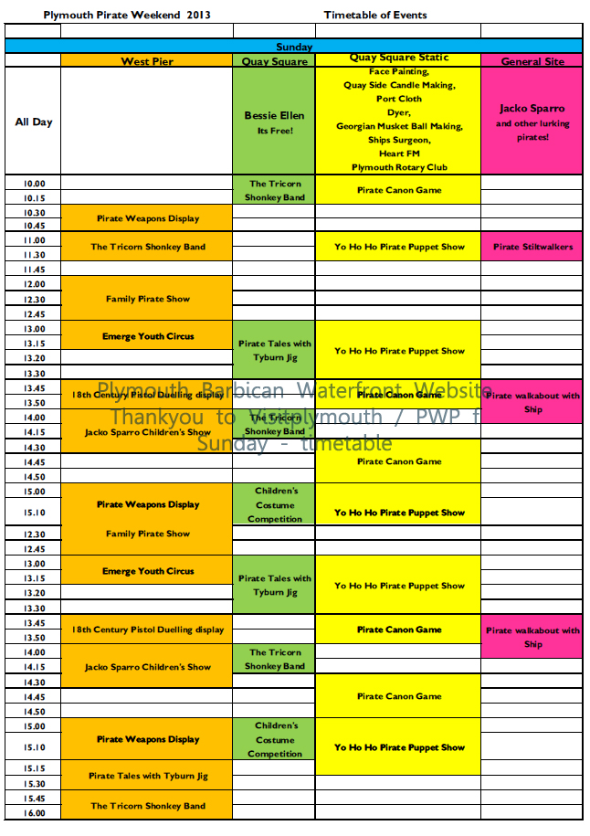 Plymouth Barbican Pirate Weekend 2013 – Full Timetable