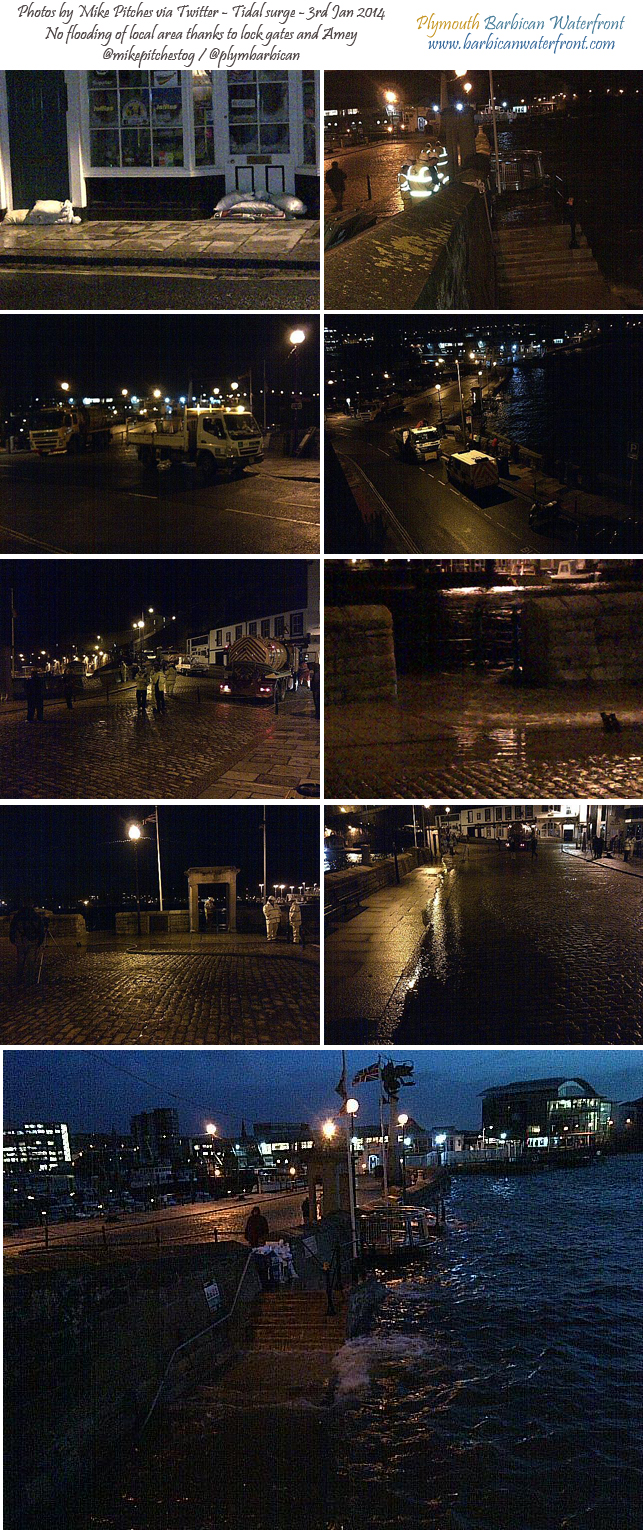 Plymouth Barbican safe from morning floods – 3rd Jan 2014