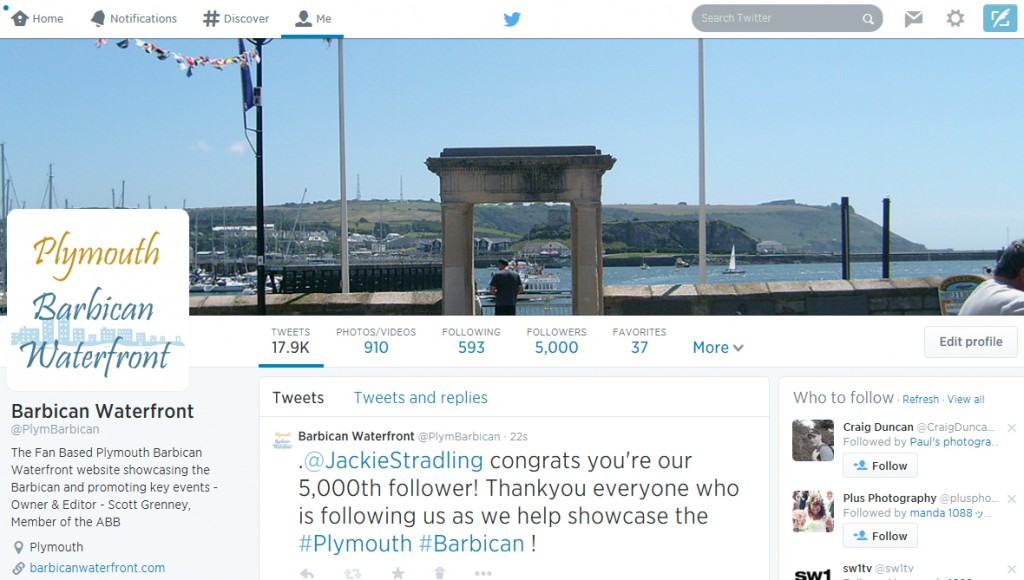 twitter barbican waterfront 5000 followers