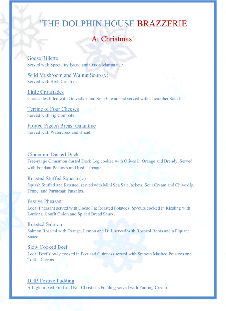 Dolphin House Restaurant Christmas Menu 2014