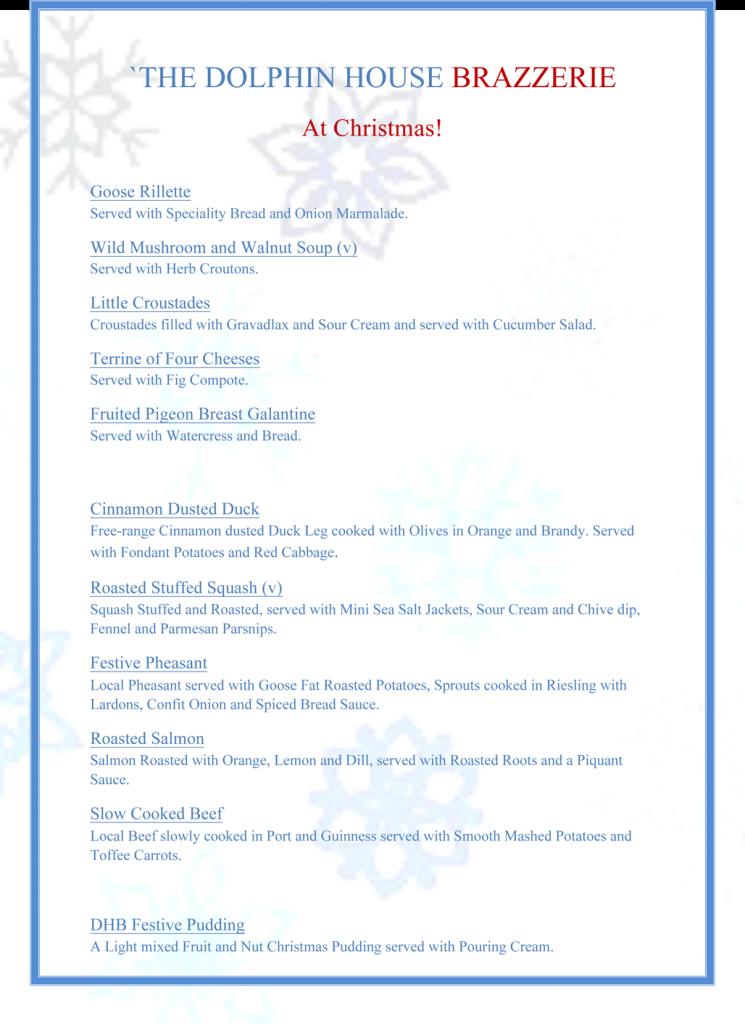 Dolphin House Restaurant Christmas Menu 2014