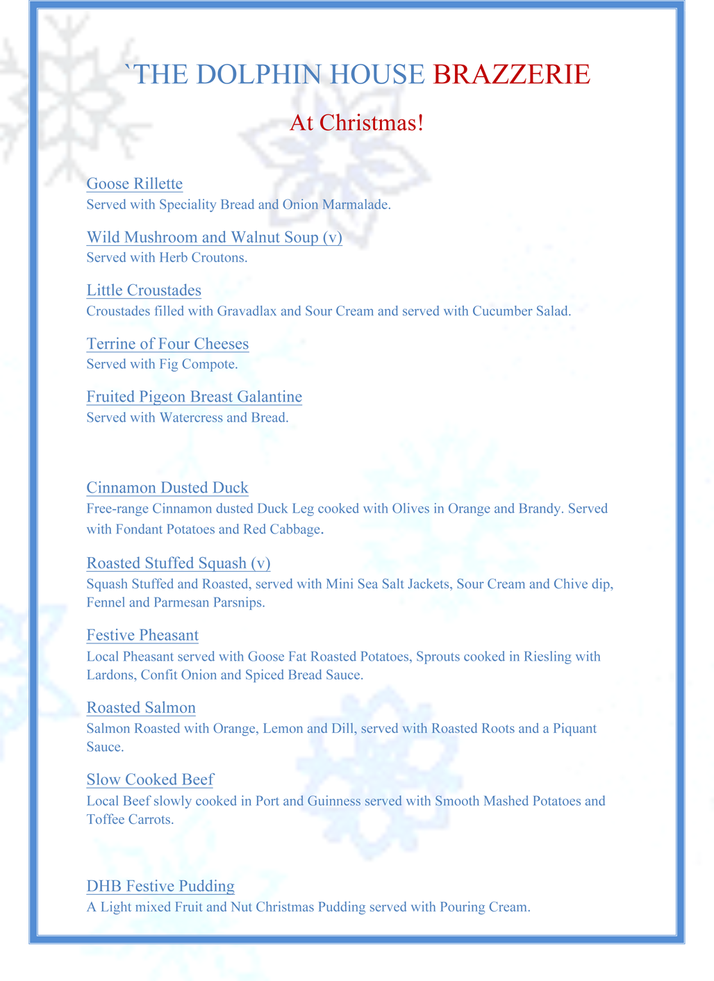 Waterfront Pub And Restaurant Plymouth Menu