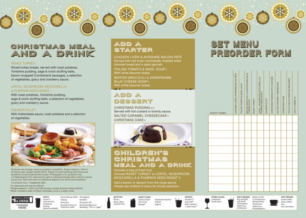 Gog Magog Christmas menu 2014