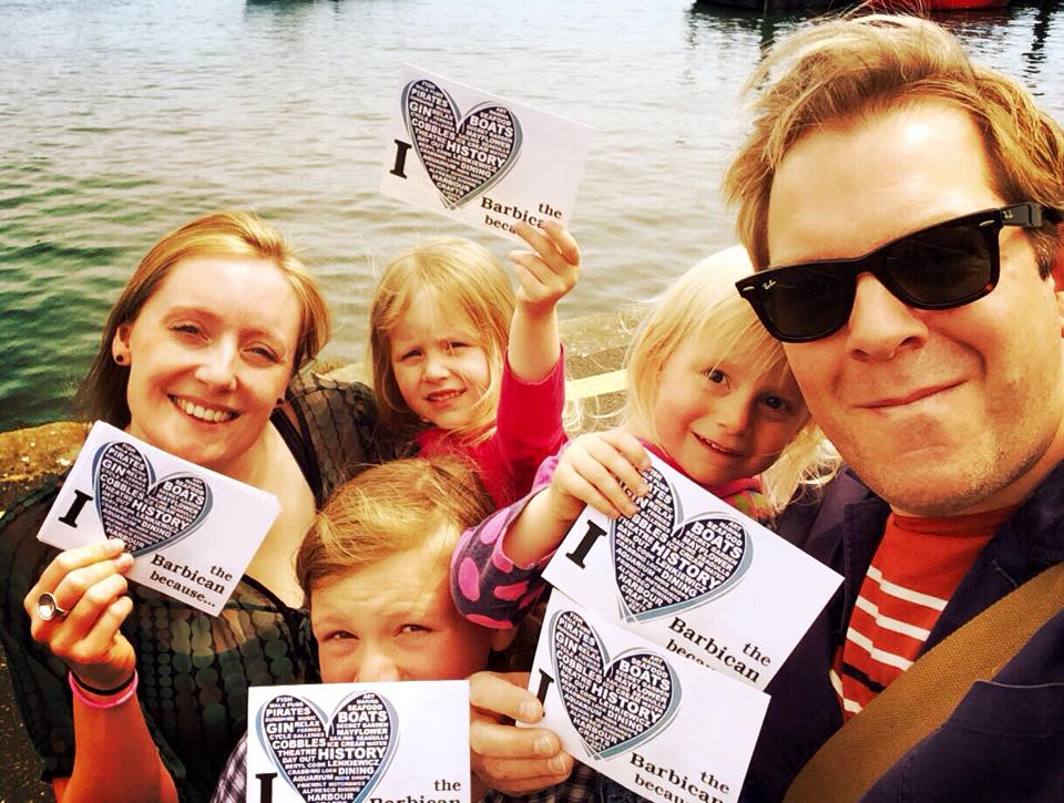 Leila Nottage and family supporting the I love the barbican campaign