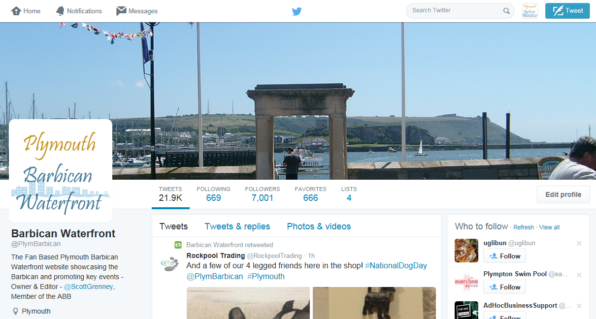 Plymouth Barbican Waterfront Twitter channel now over 7000 followers